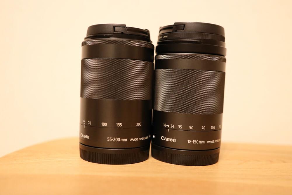 高倍率ズームのef-m18-150mmと望遠ズームのef-m55-200mmを比較した写真